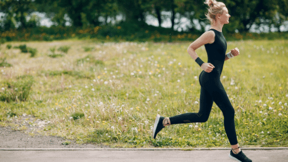 woman running to relieve stress