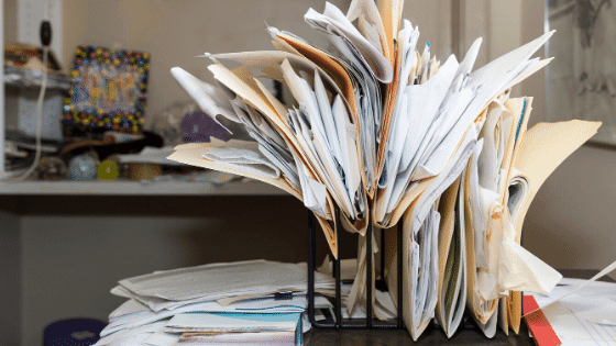 A cluttered desk