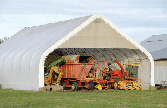 Equipment storage for a farm