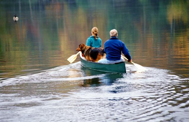 Couple in a canoe with a dog