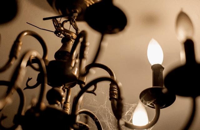 Cobwebs on a chandelier