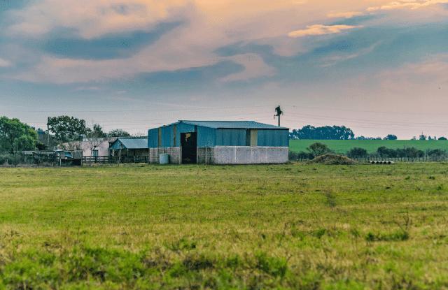 Large farm buildings on a homestead