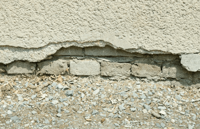 An old, cracked foundation