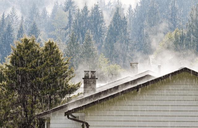 raining on a home