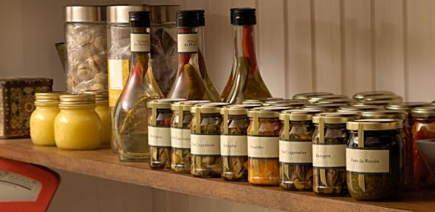 Spices on a shelf