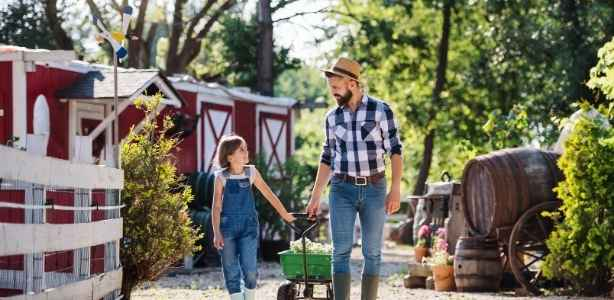 Father and daughter on a homestead
