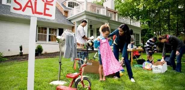 Family having a yard sale