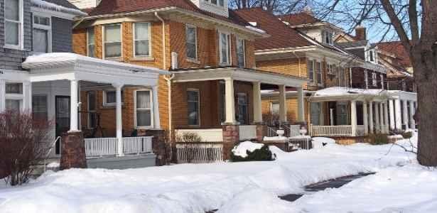 A neighborhood of houses in winter