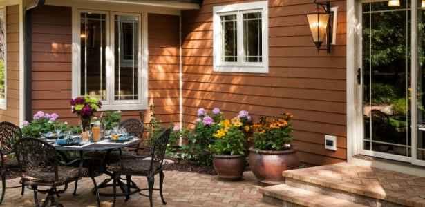 A patio behind a home