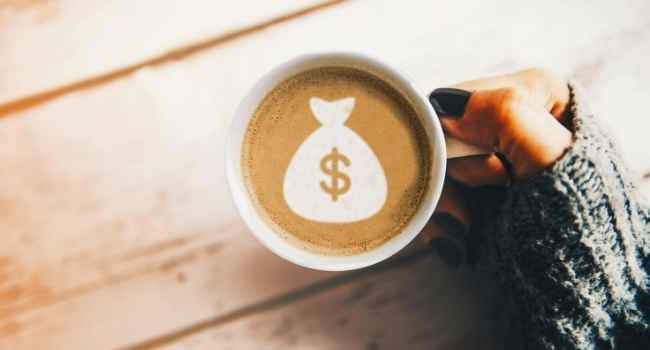 Money sign in coffee