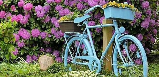 garden with antique bike