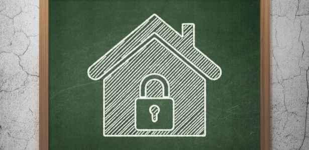 locked home image on chalkboard