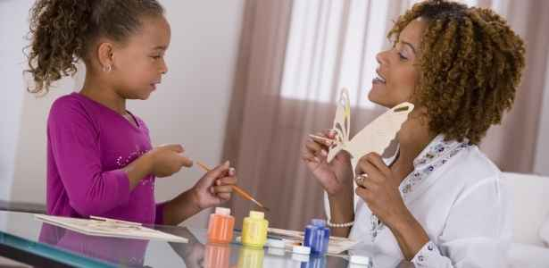 mom and daughter doing crafts together