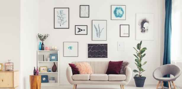 Living room wall with artwork for coziness