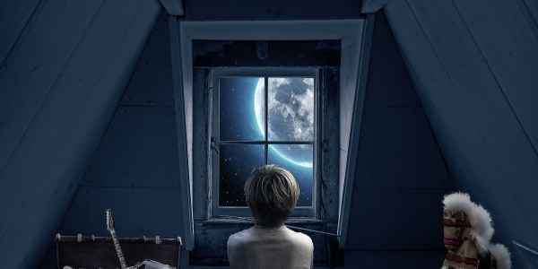 Chils gazing at stars out the attic window