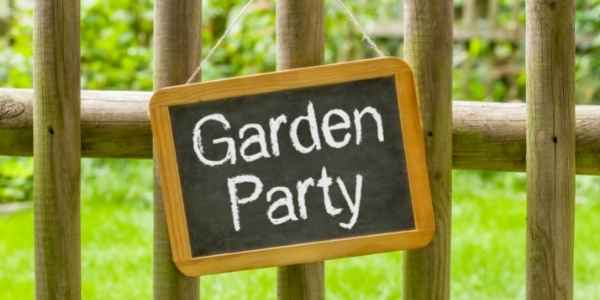 Garden Party sign on fence