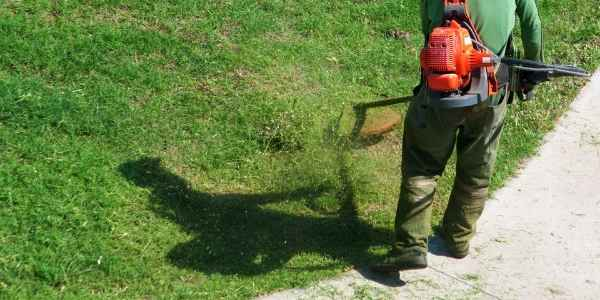 Landscaper trimming the grass