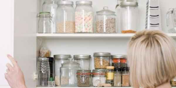 inside the kitchen cabinet