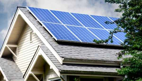 Solar on the roof of a house
